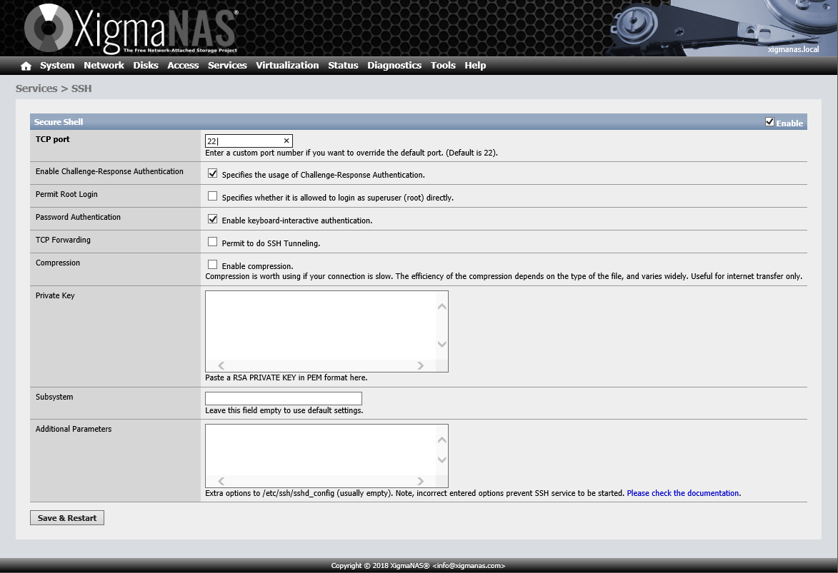 documentation:setup_and_user_guide:services_ssh [XigmaNAS]